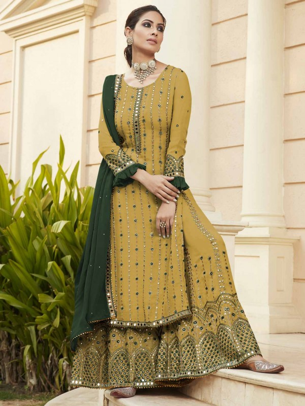 Yellow Colour Sharara Salwar Suit in Georgette Fabric.