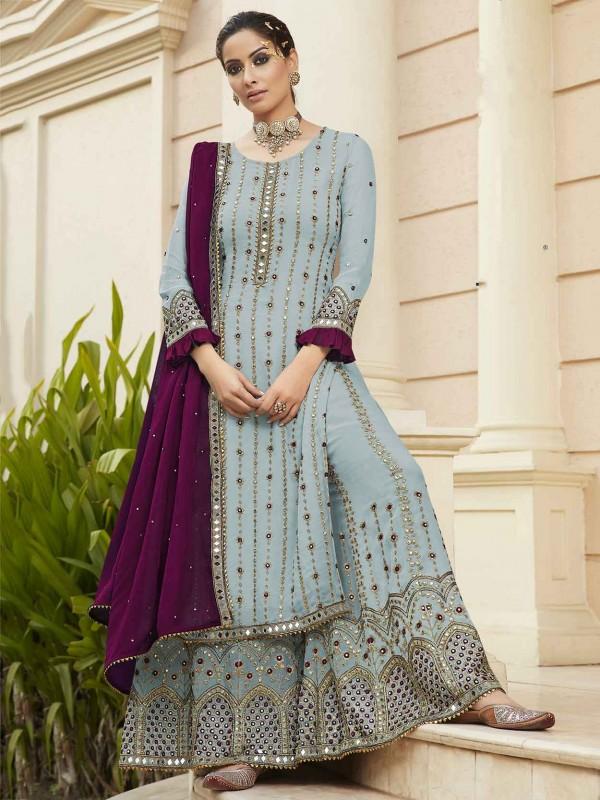 Blue Colour Georgette Fabric Salwar Kameez.