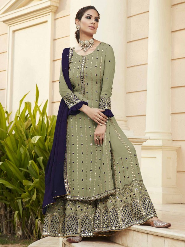 Green Colour Sharara Salwar Suit in Georgette Fabric.