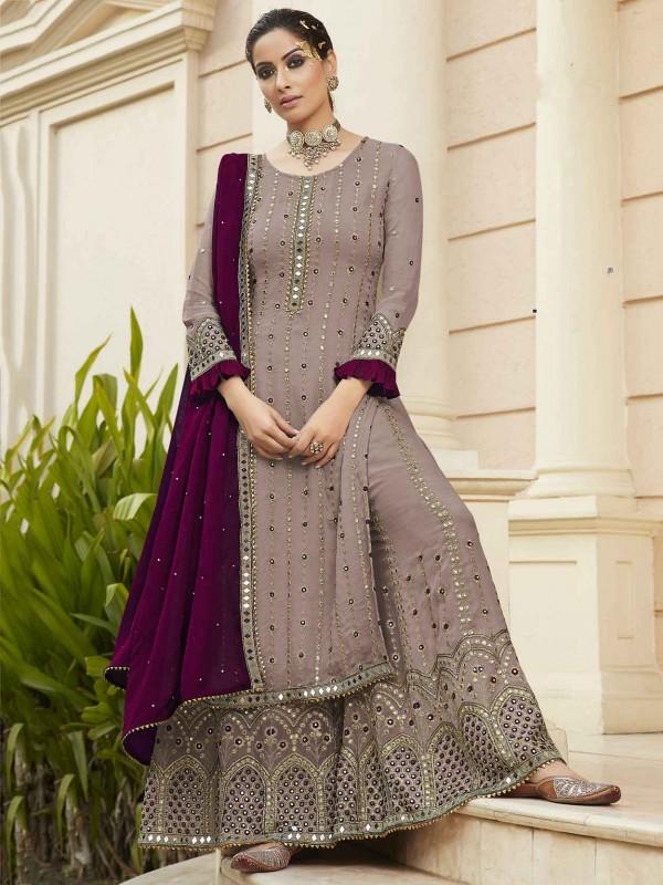 Purple Colour Designer Sharara Salwar Suit in Georgette Fabric.