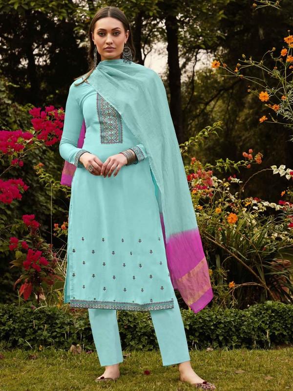 Sky Blue Colour Cotton Salwar Suit.