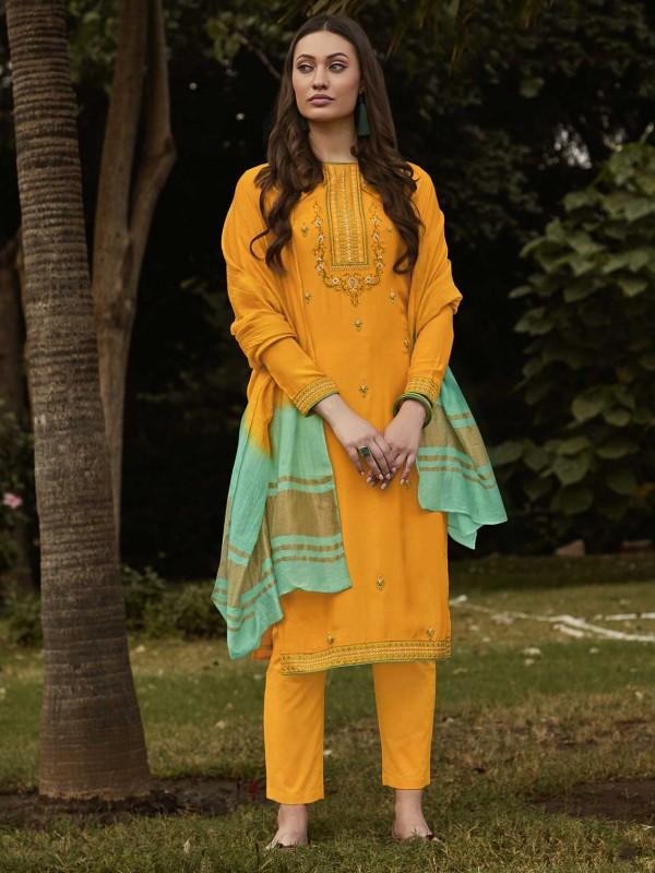 Cotton Salwar Suit Orange Colour.
