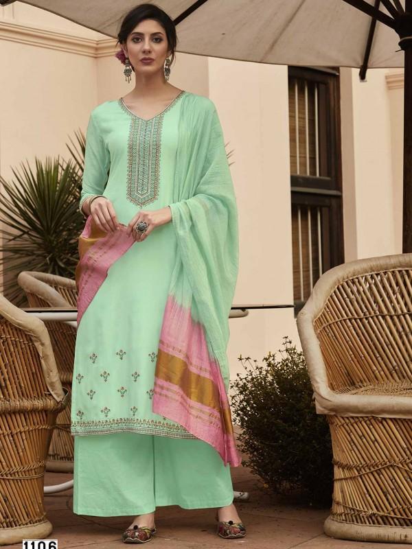 Turquoise Colour Cotton Salwar Kameez.