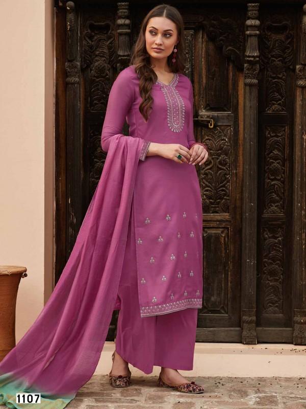 Purple Colour Cotton Designer Salwar Suit.