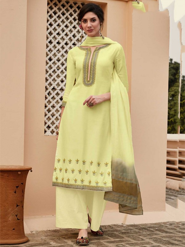 Yellow Colour Cotton Fabric Casual Salwar Suit.