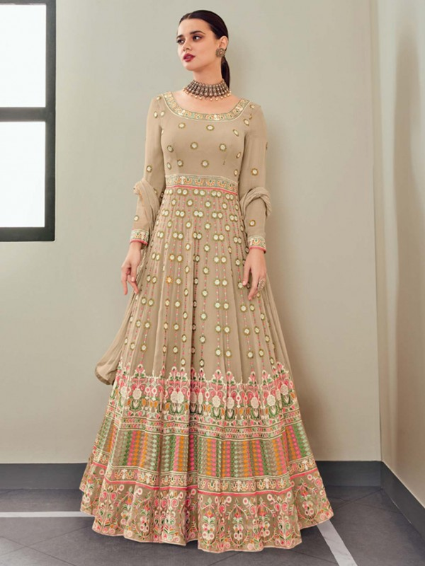 Beige Colour Georgette Fabric Anarkali Salwar Suit.