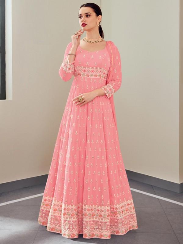 Georgette Fabric Designer Salwar Suit Pink Colour.