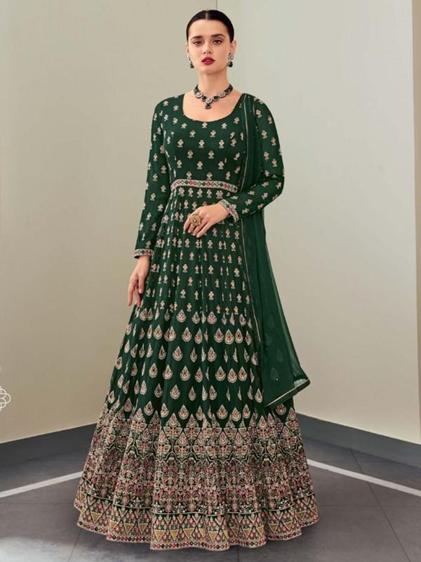 Green Colour Georgette Fabric Party Wear Salwar Suit.