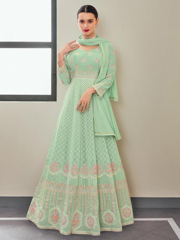 Turquoise Colour Georgette Fabric Anarkali Salwar Kameez.