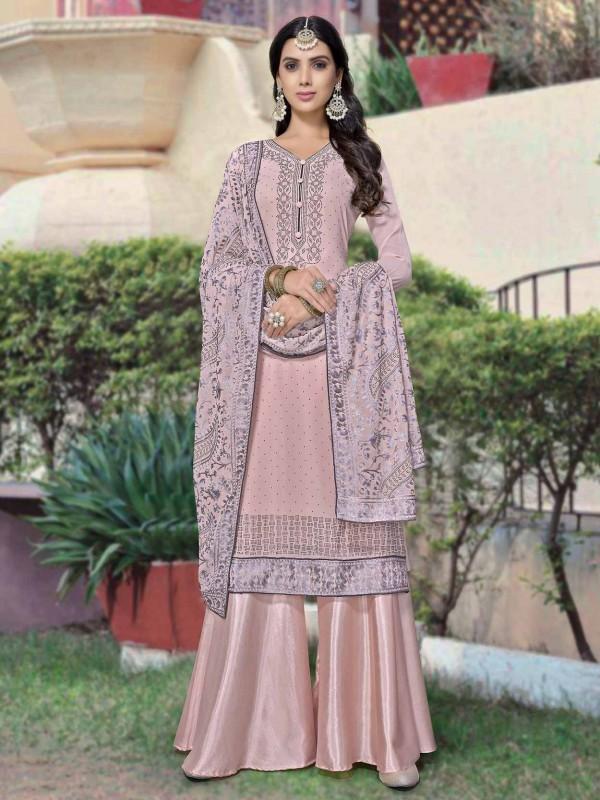 Pink Colour Georgette Fabric Salwar Kameez.