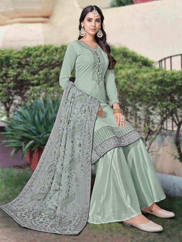 Light Green Colour Georgette Fabric Palazzo Salwar Suit.