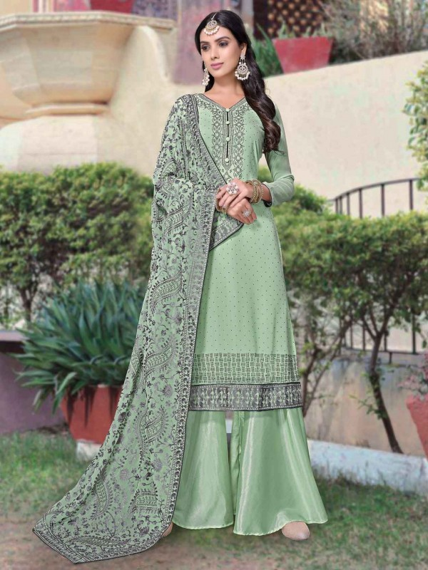 Georgette Fabric Palazzo Salwar Suit Green Colour.