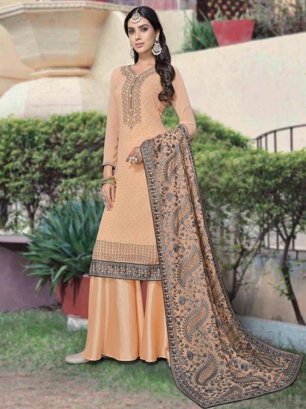 Orange Colour Georgette Salwar Suit.