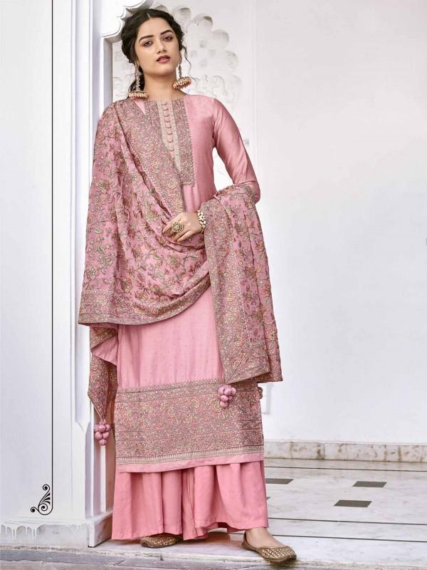 Pink Colour Silk Designer Salwar Kameez.