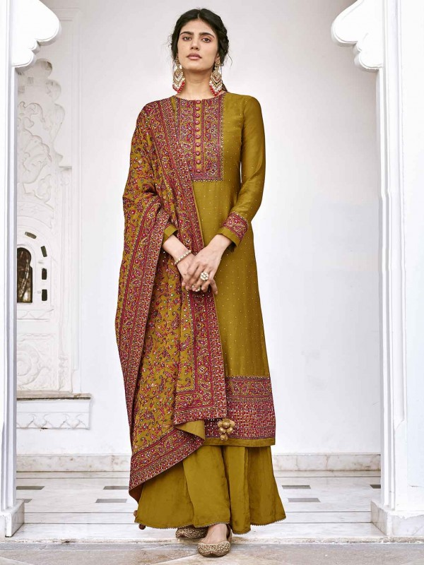 Mustard Yellow Colour Silk Fabric Palazzo Salwar Suit.
