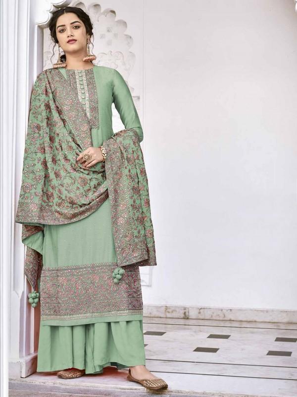 Teal Green Colour Silk Designer Salwar Suit.