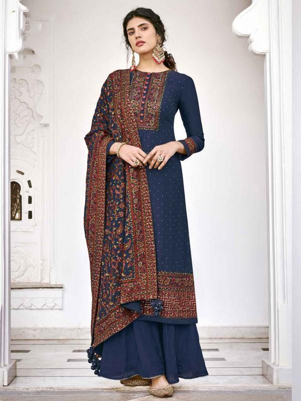 Navy Blue Colour Silk Fabric Salwar Suit.