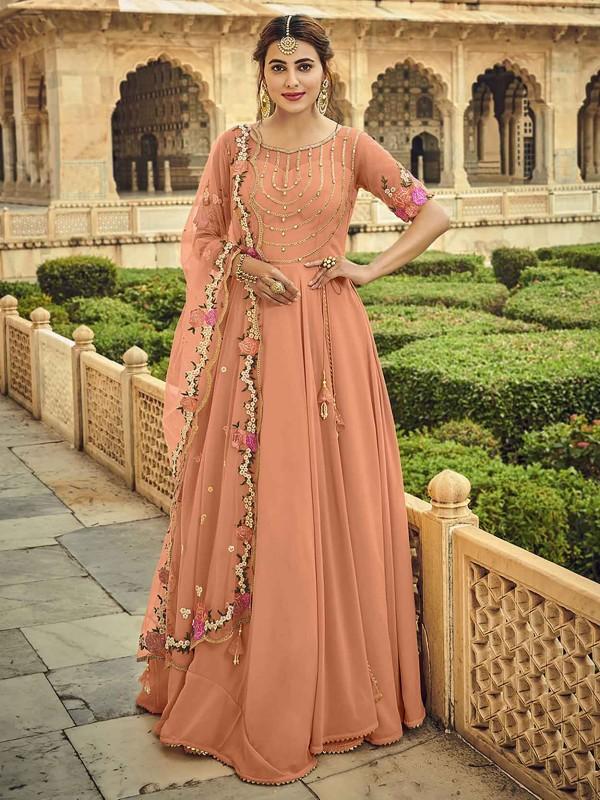 Georgette Fabric Anarkali Salwar Kameez Peach Colour.