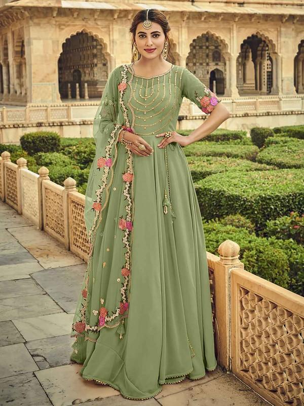 Green Colour Georgette Fabric Designer Salwar Suit.