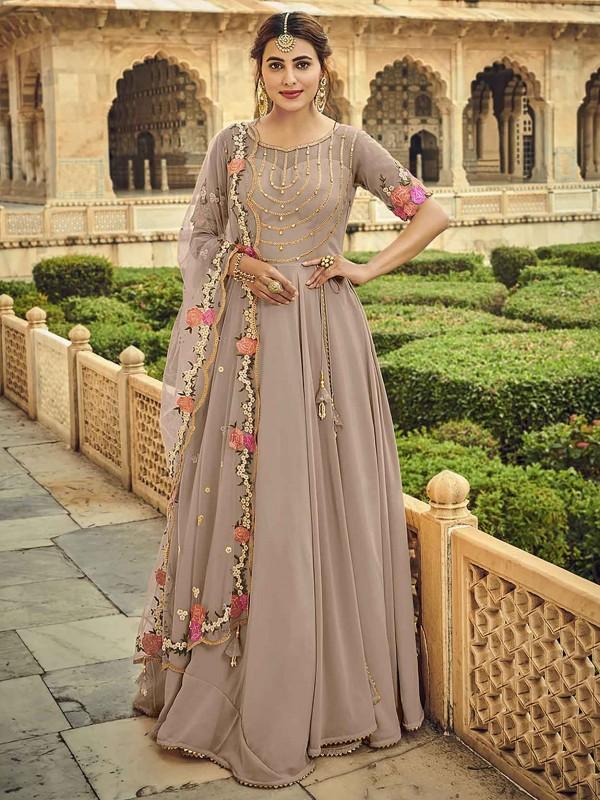 Brown Colour Georgette Party Wear Salwar Suit.