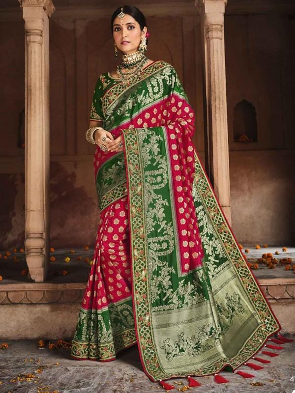 Red,Green Colour Silk Designer Saree.