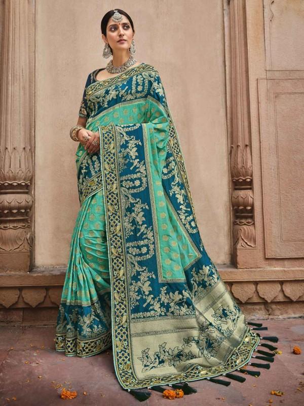 Silk Fabric Traditional Saree Green,Blue Colour.