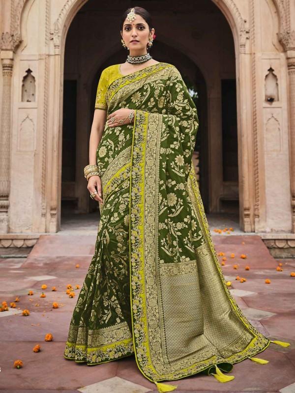 Green Colour Silk Designer Saree.