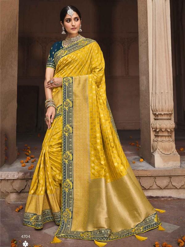 Yellow Colour Silk Fabric Indian Designer Saree.