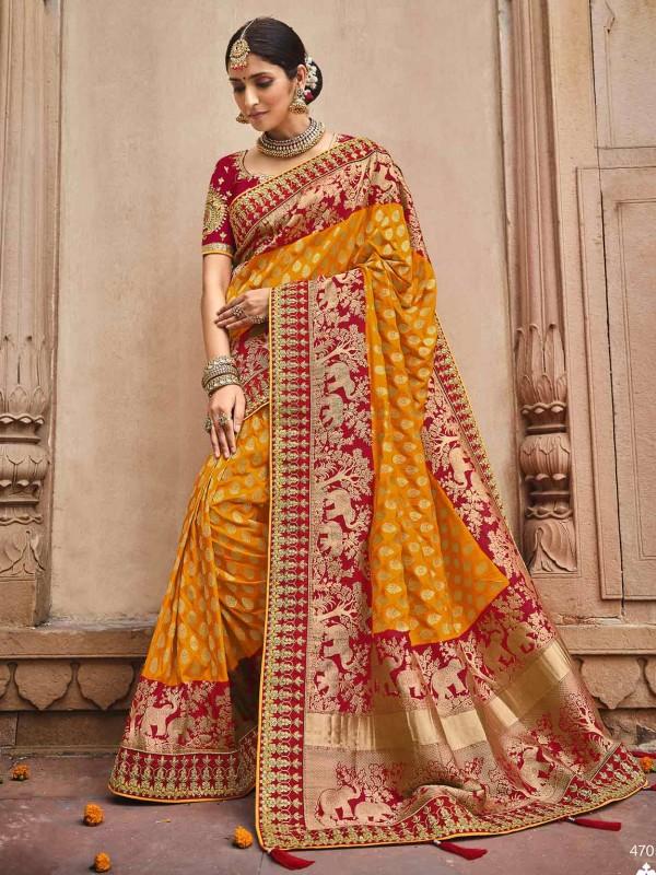 Silk Fabric Indian Wedding Saree Orange Colour.