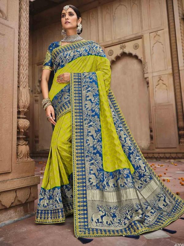 Green,Blue Colour Silk Fabric Weaving Saree.