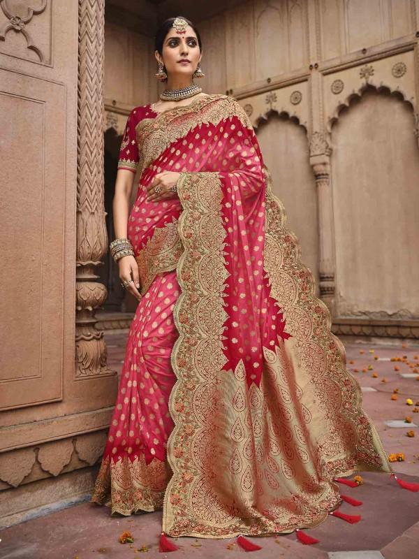 Red Colour Silk Fabric Designer Bridal Saree.