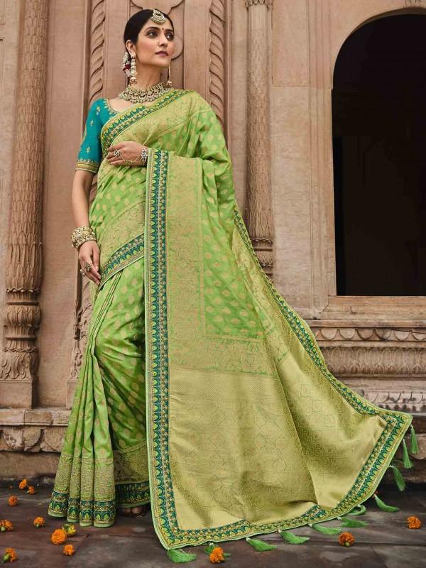 Green Colour Silk Fabric Traditional Saree.
