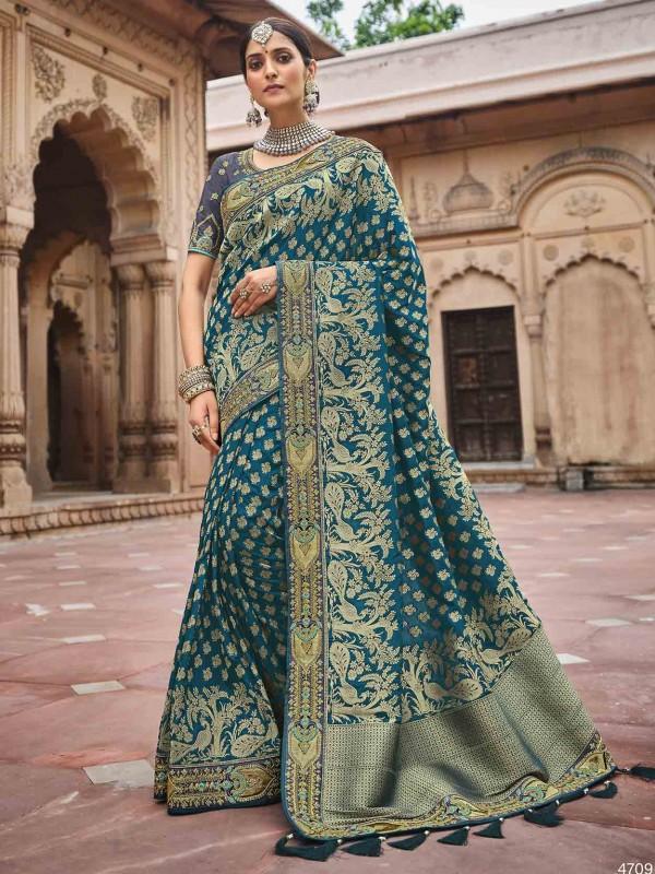 Blue Colour Silk Fabric Party Wear Saree.