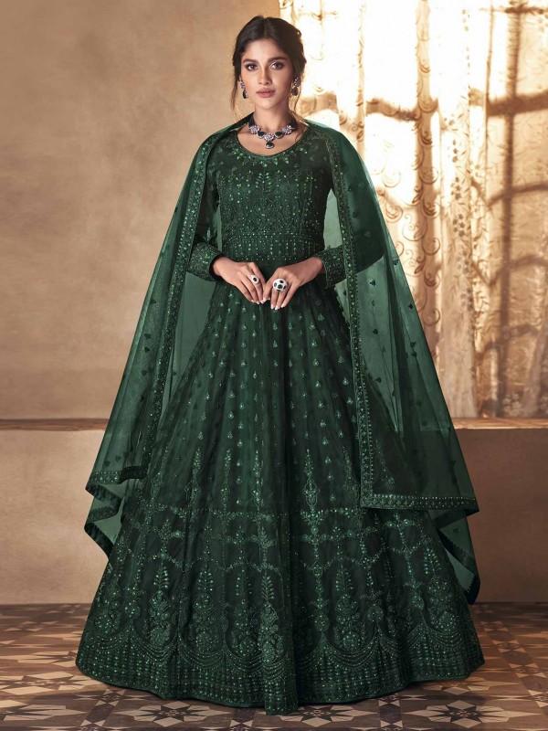 Green Colour Net Fabric Anarkali Salwar Kameez.