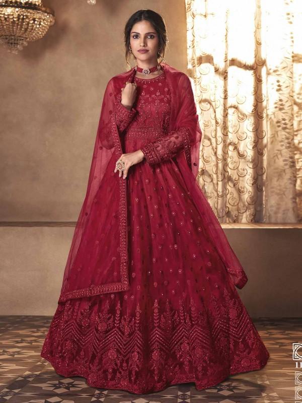 Net Fabric Designer Salwar Kameez Red Colour.
