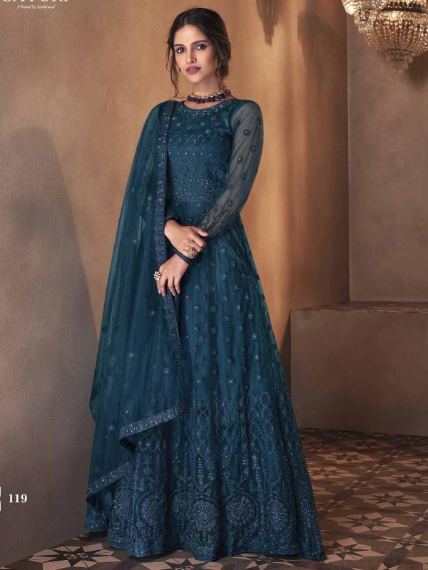 Blue Colour Net Fabric Party Wear Salwar Suit.