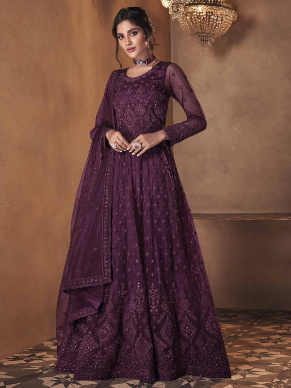 Purple Colour Net Fabric Anarkali Salwar Suit With Embroidery Work.