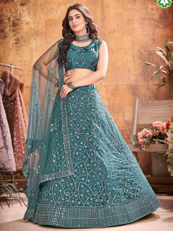 Rama Green Colour Net Fabric Designer Lehenga.