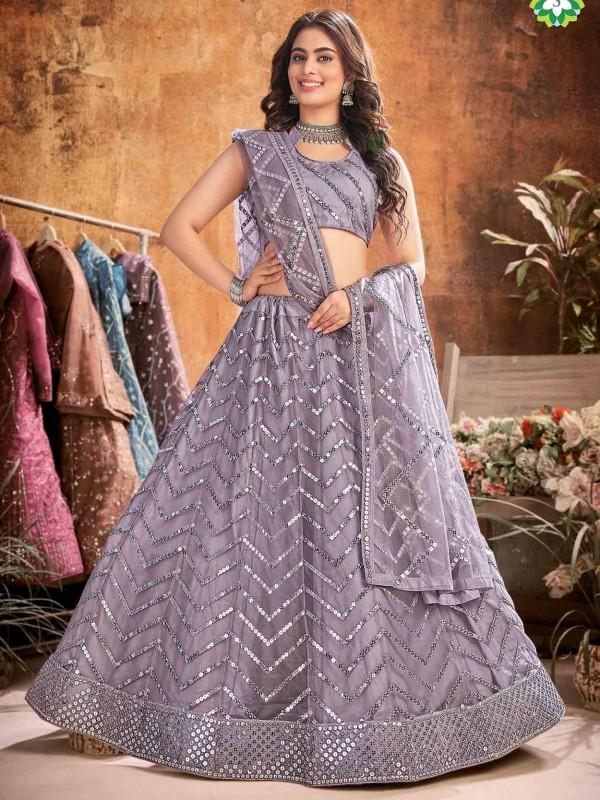 Grey Colour Net Fabric Women Lehenga Choli.