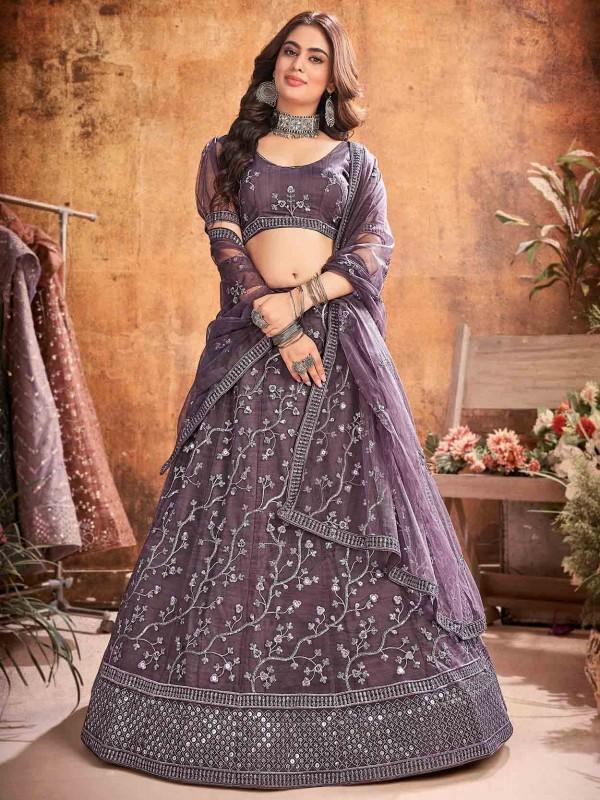 Purple Colour Net Fabric Designer Lehenga.