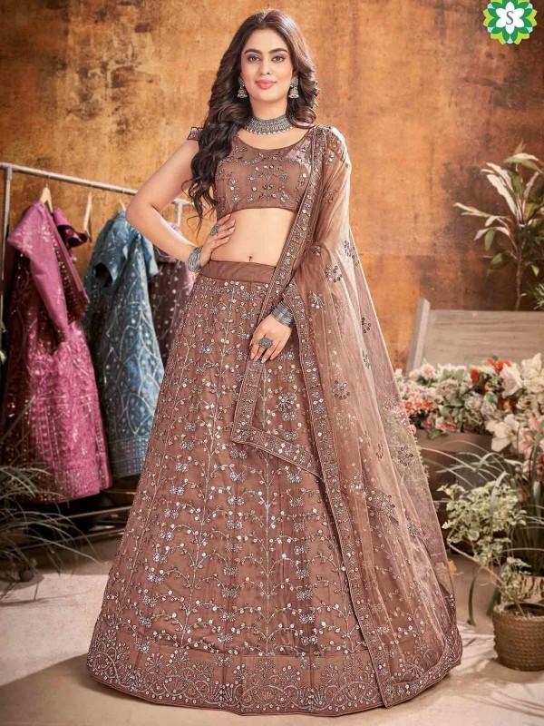 Net Fabric Designer Lehenga Choli Brown Colour