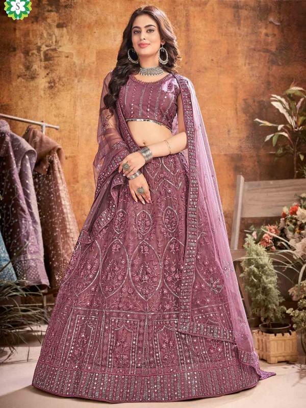 Designer Wedding Lehenga Choli Pink Colour in Net Fabric.