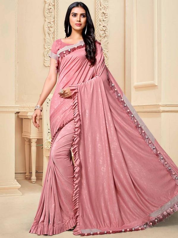 Pink Colour Fancy Women Saree.