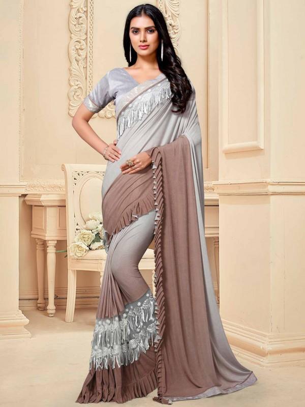 Grey Colour Fancy Fabric Saree.
