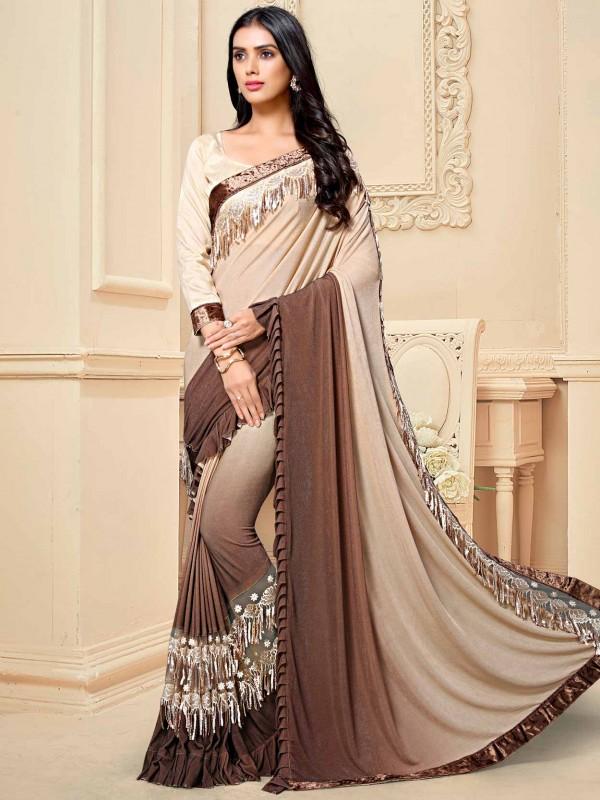 Fancy Fabric Designer Saree Brown,Cream Colour.