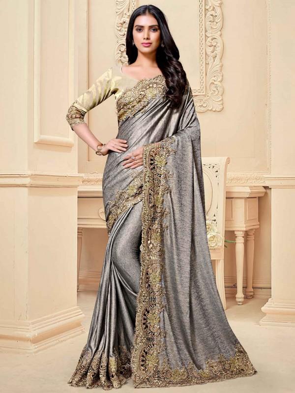 Grey Colour Fancy Women Saree.