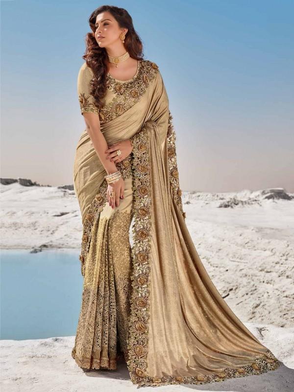 Golden,Beige Colour Imported Fabric Designer Saree.