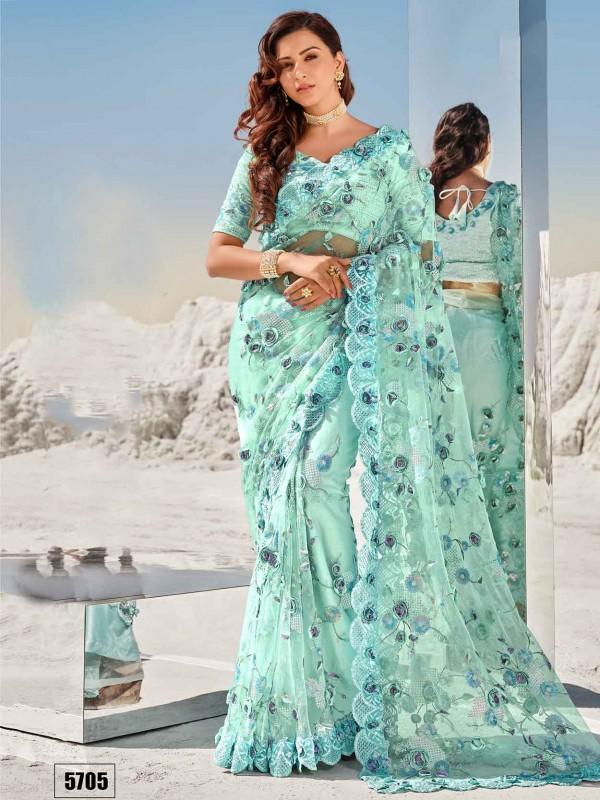 Turquoise Colour Net Fabric Saree.