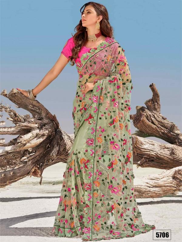 Pista Green Colour Net Fabric Indian Designer Saree.