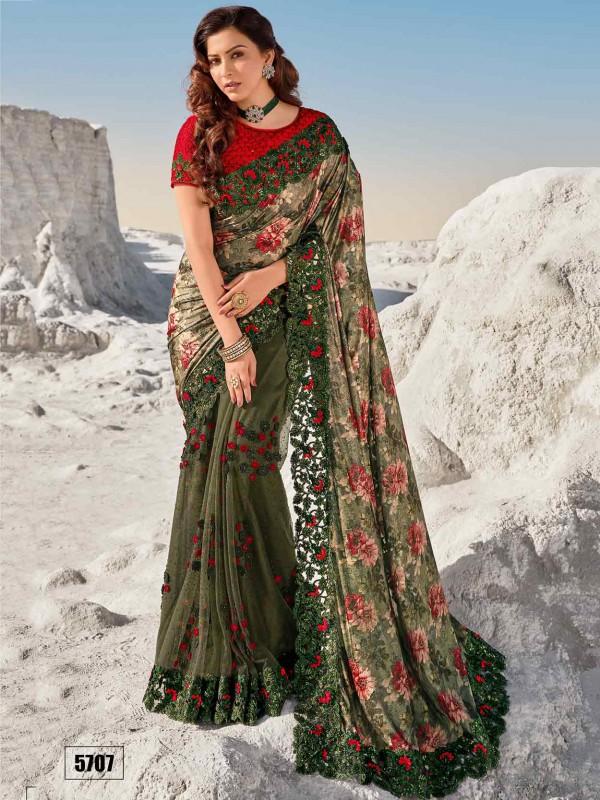 Net Fabric Designer Saree Green Colour.